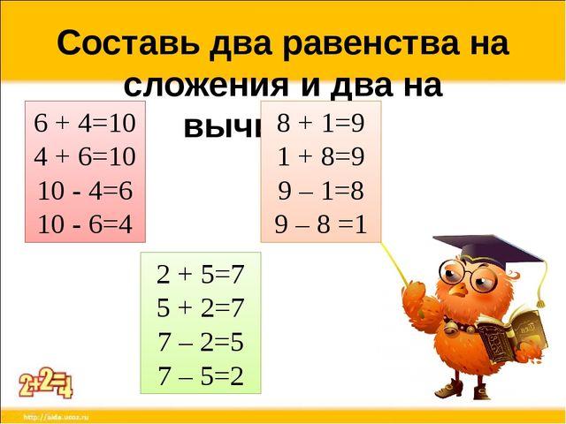 Составь два равенства на сложения и два на вычитания. 6 + 4=10 4 + 6=10 10 -...