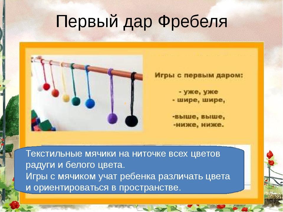 Первый дар Фребеля Первый дар Фребеля– это текстильные мячики на ниточке вс...
