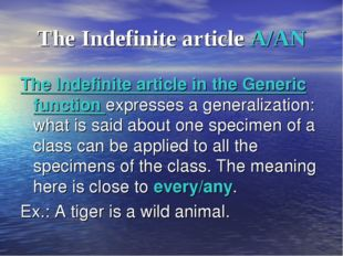 The Indefinite article A/AN The Indefinite article in the Generic function ex
