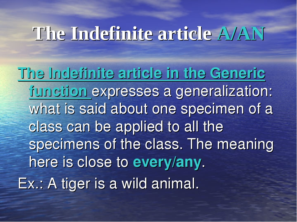 The Indefinite article A/AN The Indefinite article in the Generic function ex...