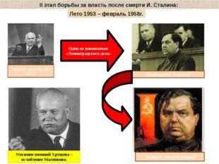 II этап борьбы за власть после смерти И. Сталина: Лето 1953 – февраль 1958г.