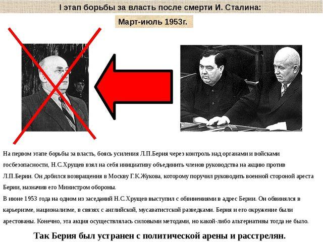 I этап борьбы за власть после смерти И. Сталина: Март-июль 1953г. На первом э...