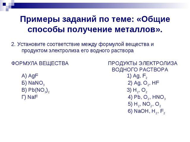 Примеры заданий по теме: «Общие способы получение металлов». 2. Установите со...