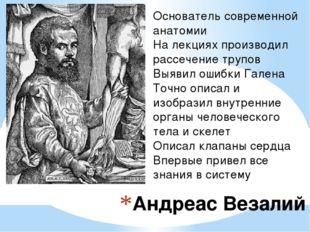 Андреас Везалий Основатель современной анатомии На лекциях производил рассече