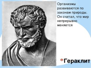 Гераклит Организмы развиваются по законам природы. Он считал, что мир непреры