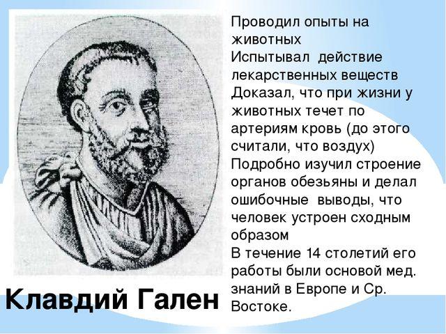 Клавдий Гален Проводил опыты на животных Испытывал действие лекарственных вещ...