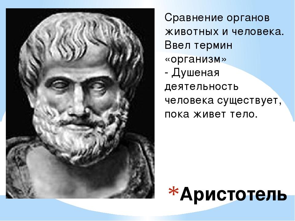 Аристотель Сравнение органов животных и человека. Ввел термин «организм» - Ду...