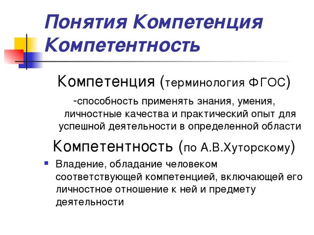 Понятия Компетенция Компетентность Компетенция (терминология ФГОС) -способнос...