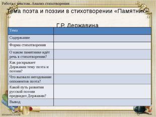 Тема поэта и поэзии в стихотворении «Памятник» Г.Р. Державина Дидактический м