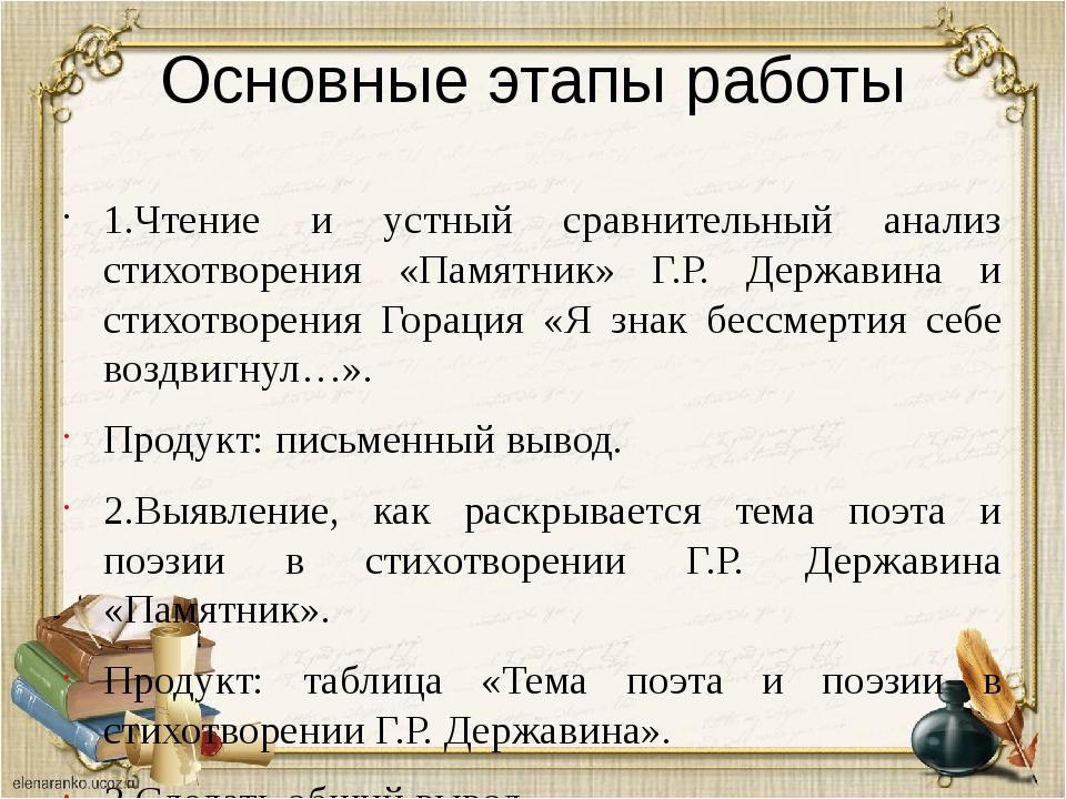 Основные этапы работы 1.Чтение и устный сравнительный анализ стихотворения «П...