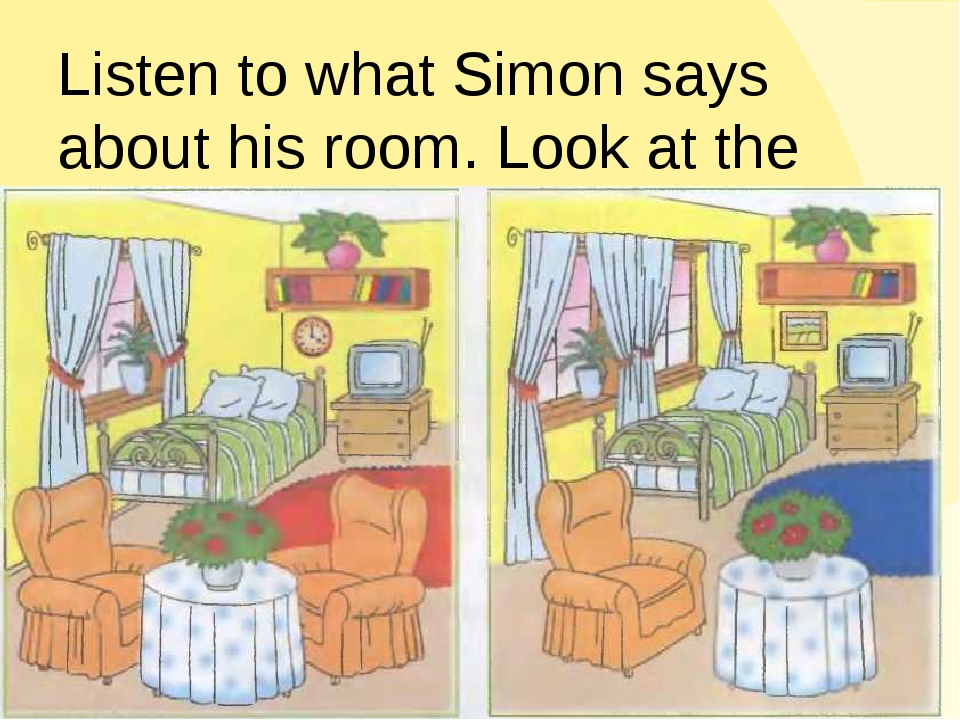 Listen to what Simon says about his room. Look at the pictures. Guess where S...