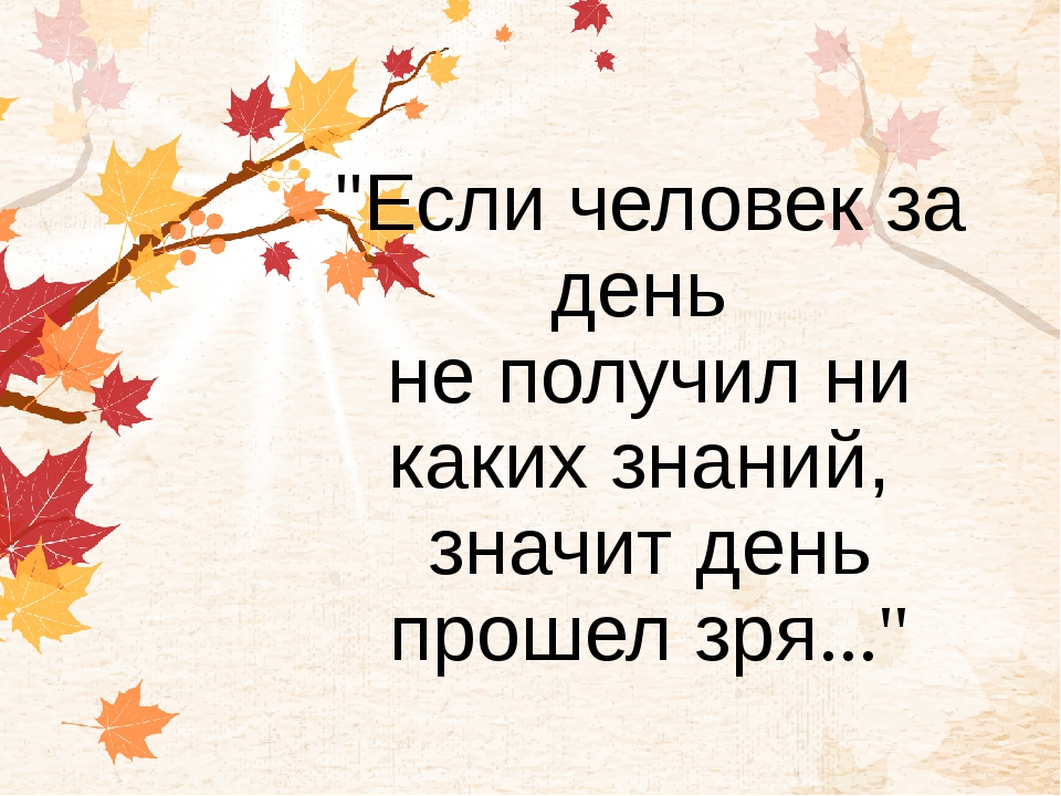 """""""Если человек за день не получил ни каких знаний, значит день прошел зря..."""""""
