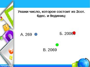 Укажи число, которое состоит из 2сот. 6дес. и 9единиц: Б. 20069 В. 2069 А. 26