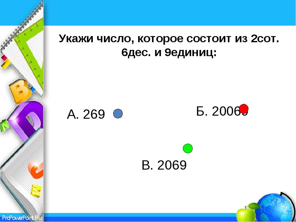 Укажи число, которое состоит из 2сот. 6дес. и 9единиц: Б. 20069 В. 2069 А. 26...
