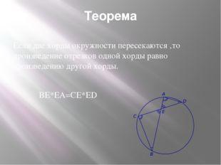 Теорема Если две хорды окружности пересекаются ,то произведение отрезков одно