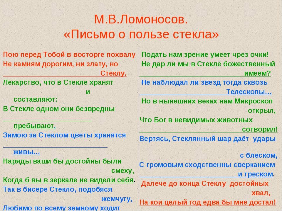 М.В.Ломоносов. «Письмо о пользе стекла» Пою перед Тобой в восторге похвалу Не...