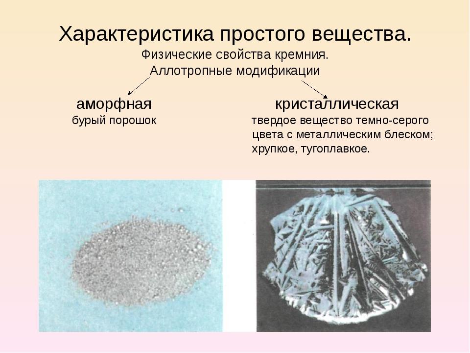 Характеристика простого вещества. Физические свойства кремния. Аллотропные мо...