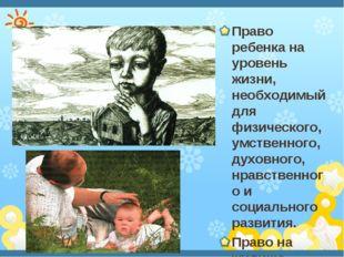 Право ребенка на уровень жизни, необходимый для физического, умственного, ду