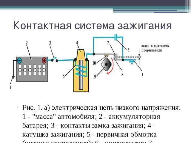 Контактная система зажигания Рис. 1. а) электрическая цепь низкого напряжения...