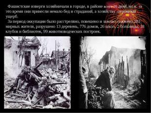 Фашистские изверги хозяйничали в городе, в районе всего 20 дней, но и за это