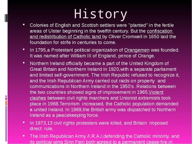 History Colonies of English and Scottish settlers were ''planted'' in the fer...