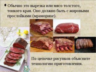 Обычно это вырезка или мясо толстого, тонкого края. Оно должно быть с жировым