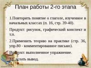 План работы 2-го этапа 1.Повторить понятие о глаголе, изученное в начальных к
