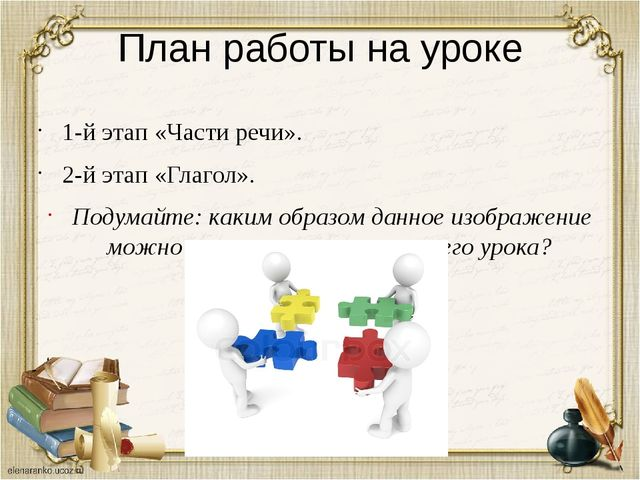 План работы на уроке 1-й этап «Части речи». 2-й этап «Глагол». Подумайте: как...