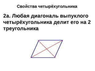 Свойства четырёхугольника 2а. Любая диагональ выпуклого четырёхугольника дели