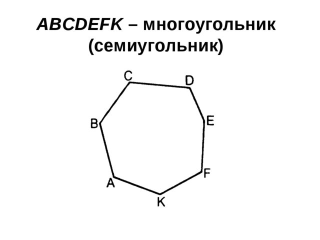 ABCDEFK – многоугольник (семиугольник)