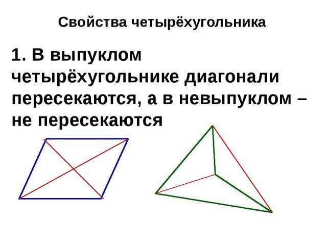 Свойства четырёхугольника 1. В выпуклом четырёхугольнике диагонали пересекают...