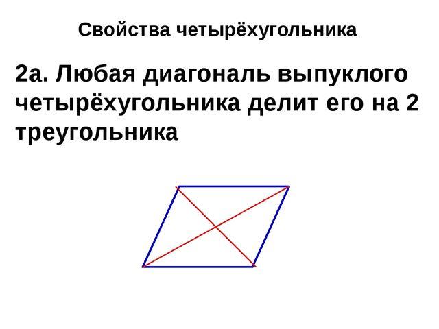 Свойства четырёхугольника 2а. Любая диагональ выпуклого четырёхугольника дели...