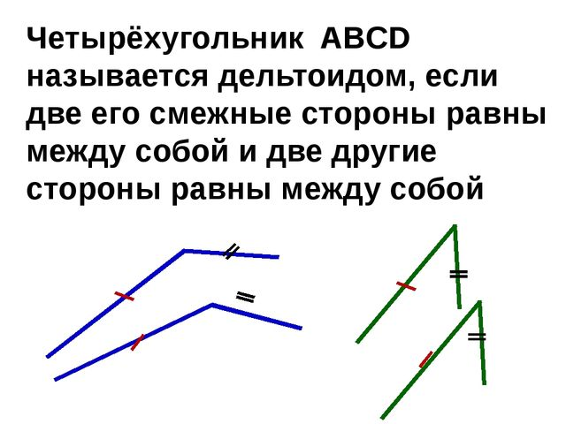 Четырёхугольник ABCD называется дельтоидом, если две его смежные стороны равн...