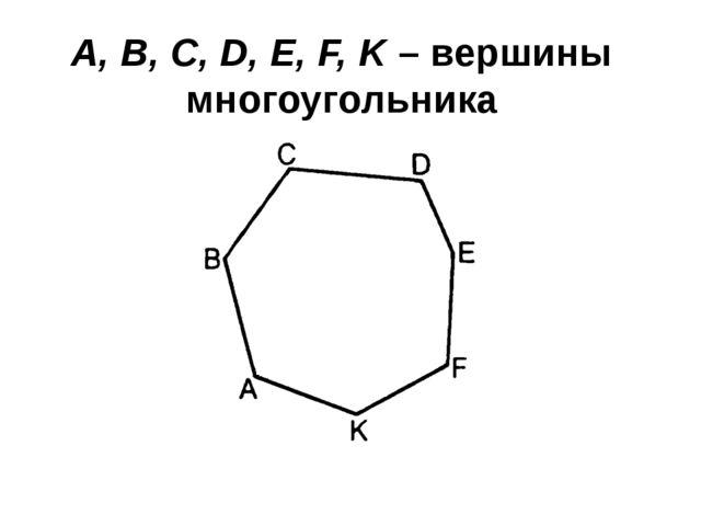 A, B, C, D, E, F, K – вершины многоугольника