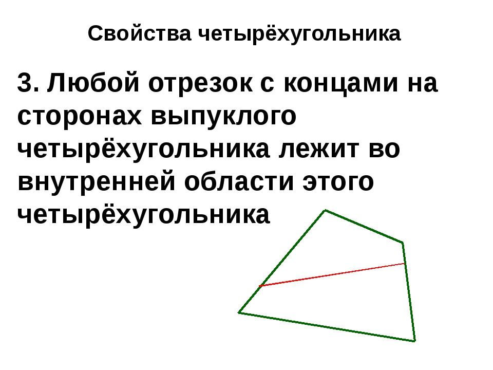 Свойства четырёхугольника 3. Любой отрезок с концами на сторонах выпуклого че...
