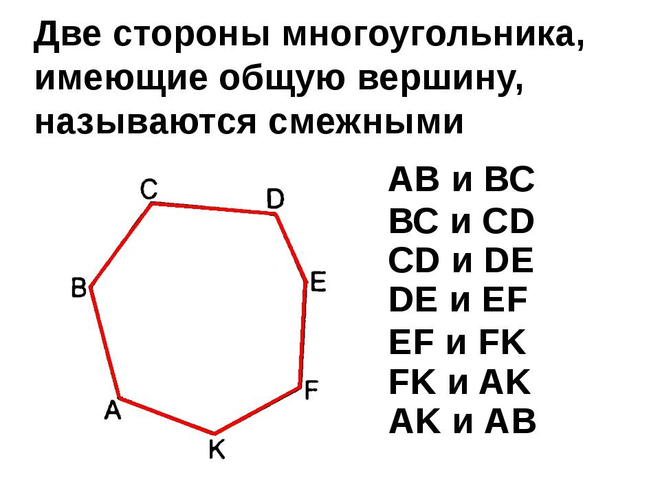 Две стороны многоугольника, имеющие общую вершину, называются смежными АВ и В...