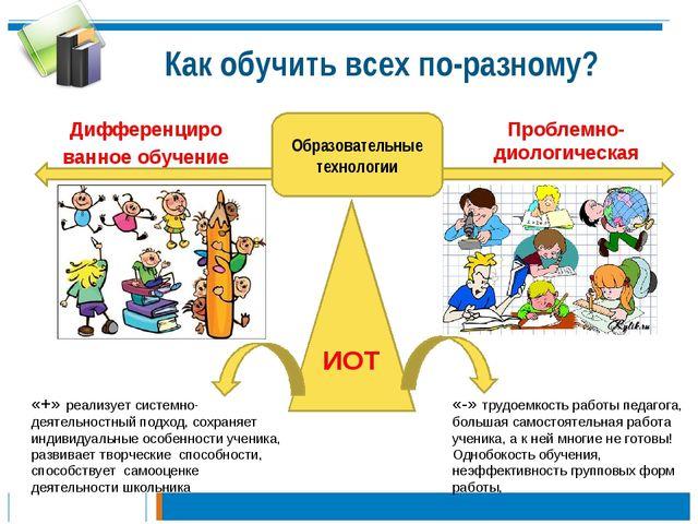 Как обучить всех по-разному? Образовательные технологии Дифференциро ванное о...