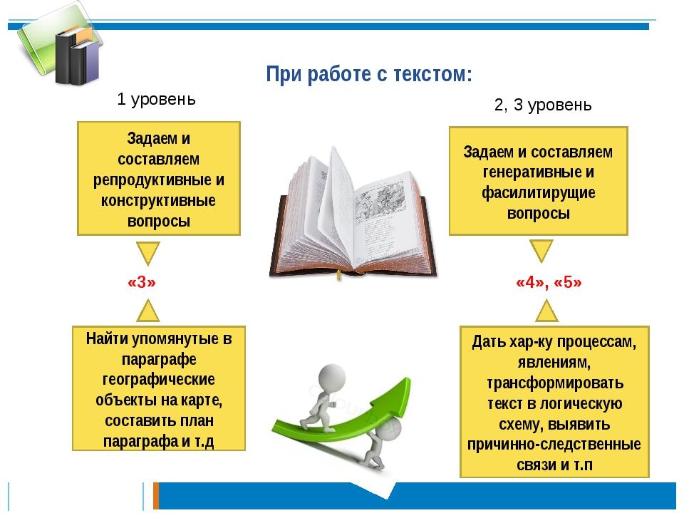 При работе с текстом: Задаем и составляем репродуктивные и конструктивные воп...