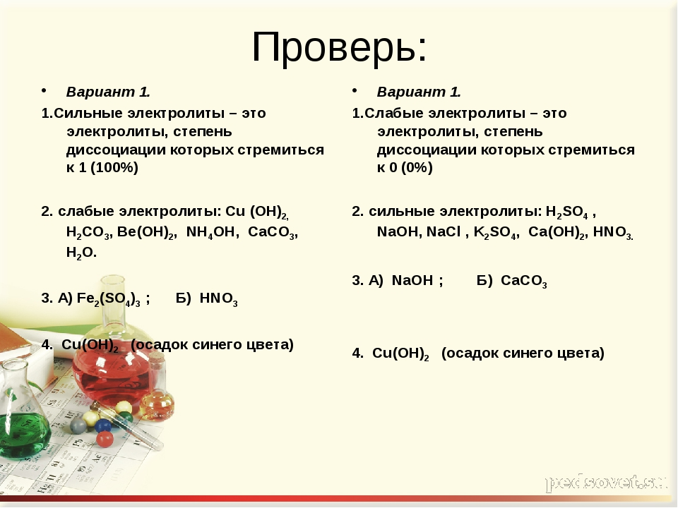 Проверь: Вариант 1. 1.Сильные электролиты – это электролиты, степень диссоциа...