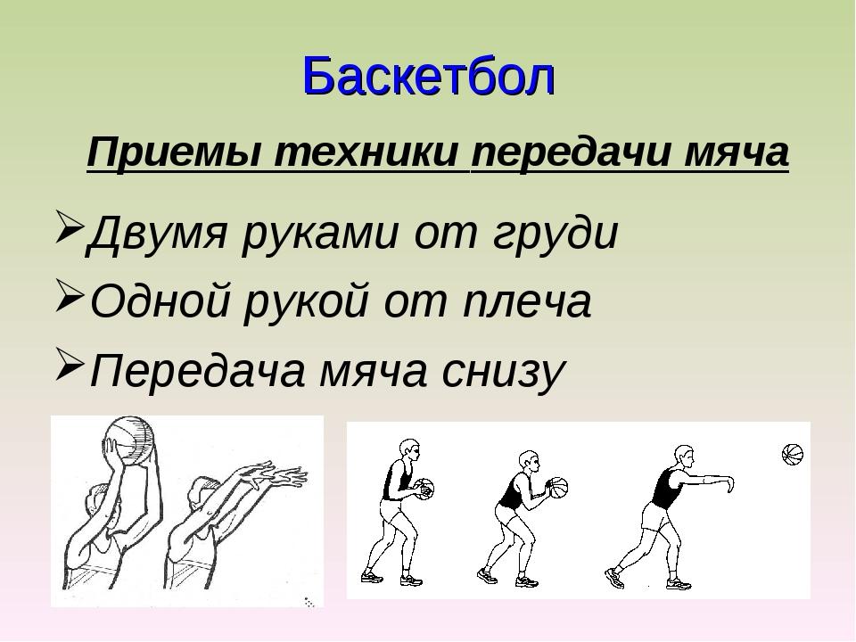 Баскетбол Приемы техники передачи мяча Двумя руками от груди Одной рукой от п...