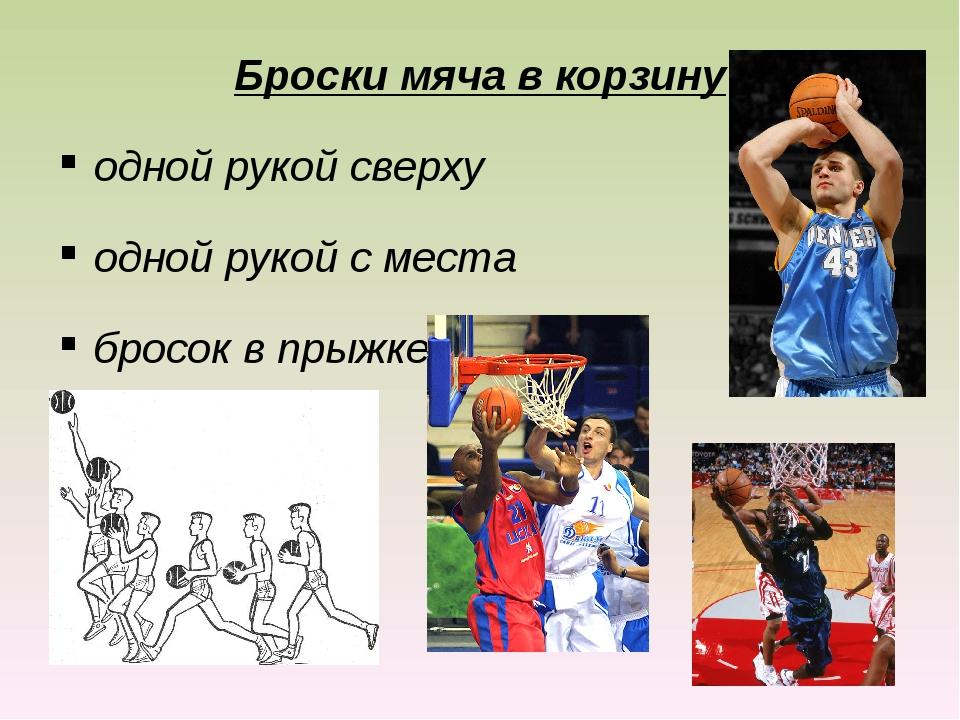 Броски мяча в корзину одной рукой сверху одной рукой с места бросок в прыжке