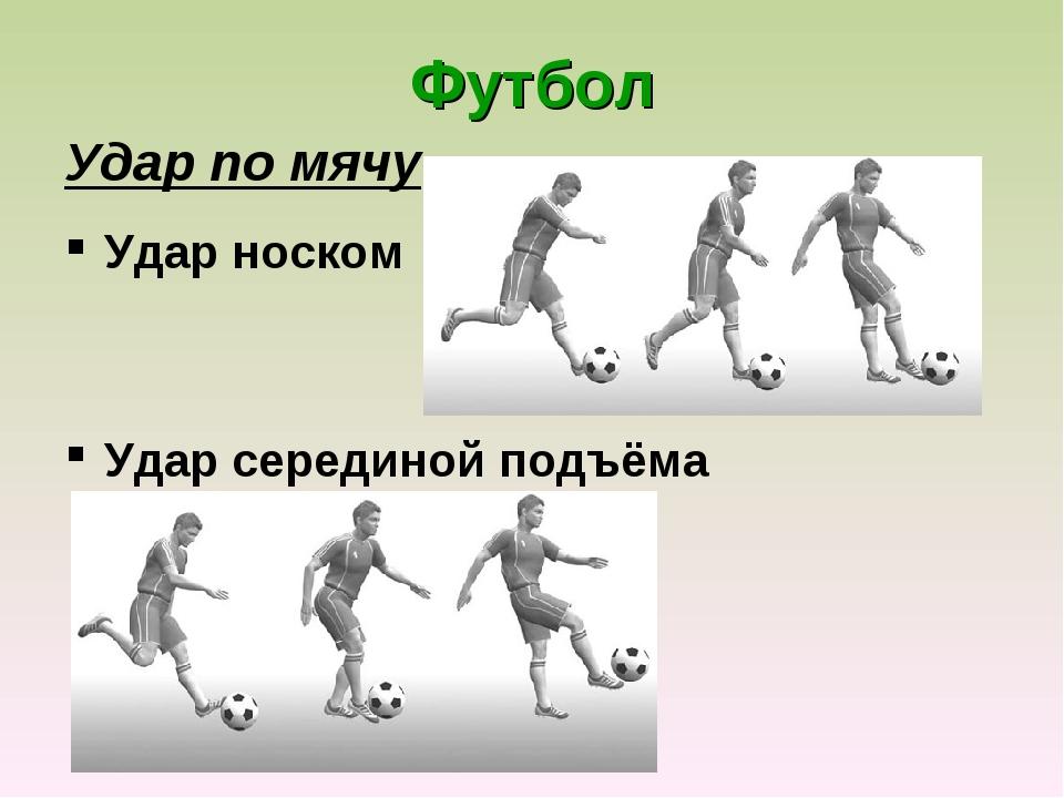 Футбол Удар по мячу Удар носком Удар серединой подъёма