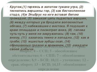 1,2 – обособленное обстоятельство; 3 – срав. оборот; 4 – ССП; 5 - обособленно