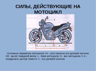 СИЛЫ, ДЕЙСТВУЮЩИЕ НА МОТОЦИКЛ . Основные параметры мотоцикла: An - угол накло