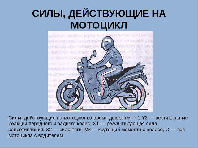 СИЛЫ, ДЕЙСТВУЮЩИЕ НА МОТОЦИКЛ Силы, действующие на мотоцикл во время движения...