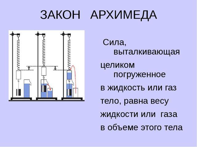 ЗАКОН АРХИМЕДА FA = Рж Сила, выталкивающая целиком погруженное в жидкость или...