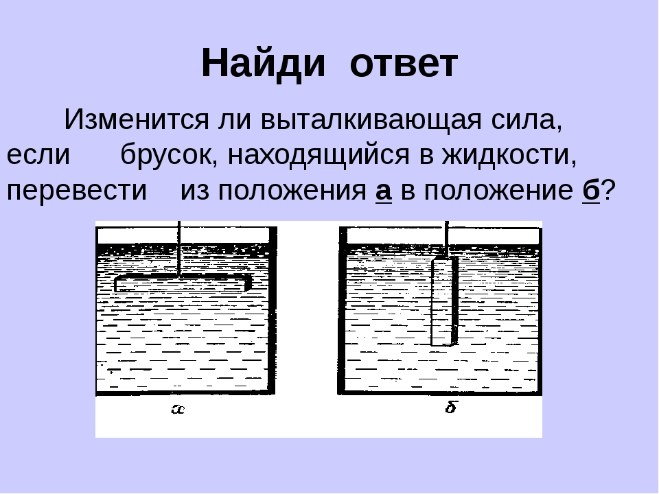 Найди ответ Изменится ли выталкивающая сила, если брусок, находящийся в жидко...