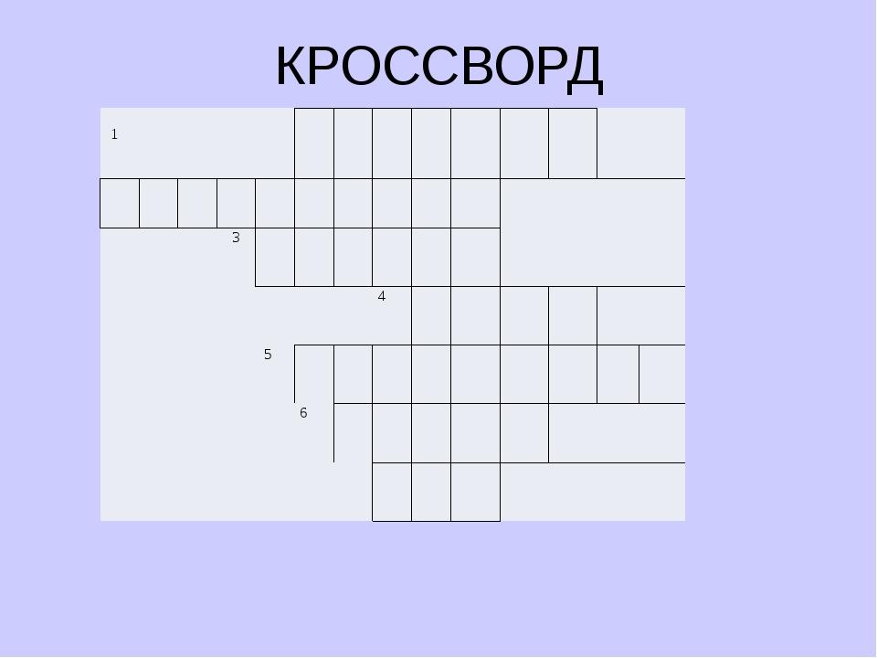 КРОССВОРД 1 3 4 5 6