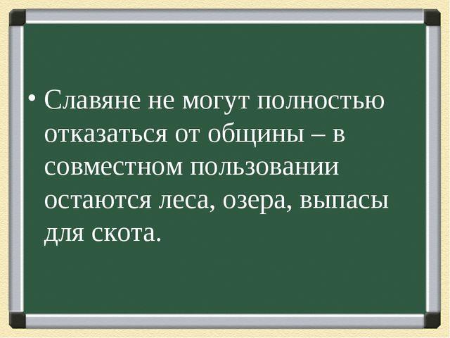 Славяне не могут полностью отказаться от общины – в совместном пользовании ос...