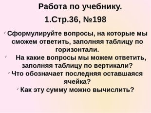 1.Стр.36, №198 Сформулируйте вопросы, на которые мы сможем ответить, заполняя